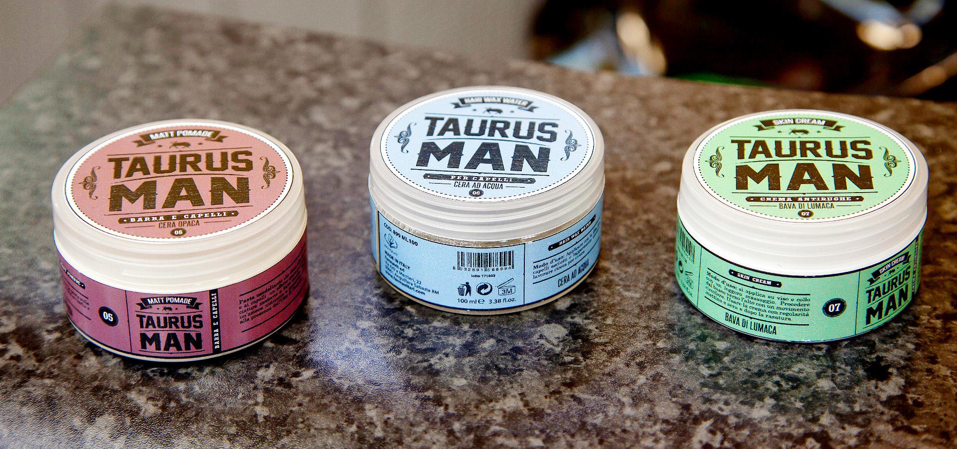 I prodotti della linea Taurus: cera opaca, cera ad acqua e crema antirughe.